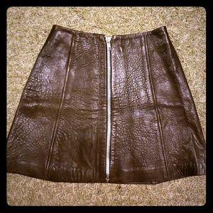 Vintage J Harris Full grain zipped leather skirt